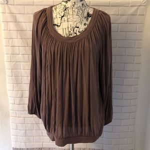Free People brown pleated wrinkled shirt top